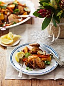 Spicy roast chicken with oven-roasted vegetables