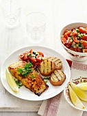 Tandoori salmon with grilled potatoes and tomato salsa