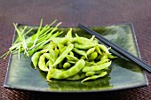 Cooked soya beans on a plate with chopsticks (Japan)