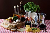 An arrangement of typical Italian ingredients