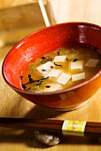 Miso soup with seaweed, tofu and spring onions