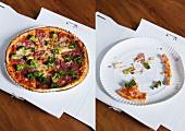 Takeaway Pizza im Karton, einmal ganz und fast aufgegessen