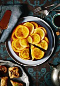 Syrup cake with oranges (seen from above)
