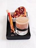 Rhubarb and yogurt smoothie with pomegranate