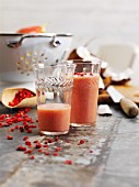 Strawberry and coconut shake with goji berries