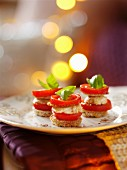 Tomato and mozzarella towers with basil