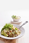 Nutty wild rice salad with feta cream