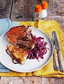 Pork chops with potato cake and red cabbage