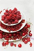 Red berries and cherries on a cake stand