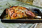 Roast leg of lamb with rosemary in a roasting tin