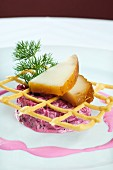 Beetroot tartar with smoked butter fish