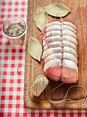 Prepared pork roulade tied with kitchen twine