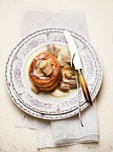 A vol-au-vent filled with mushrooms