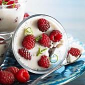 Coconut cream with raspberries (close-up)
