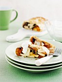 Apple strudel with dried fruit
