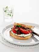 Crispy white bread with cream cheese, tomatoes and mushrooms