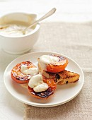 Roasted apricots with brown sugar and yogurt