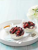 Bircher muesli with berries and honey