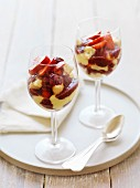 Berry trifles in stemmed glasses