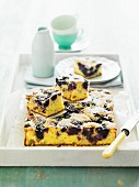 Buttermilk cake with blueberries and walnuts
