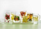 Various fruity summer drinks