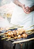Mtsvadi (lamb skewers, Georgia) on a barbecue