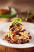 Tagliatelle with wild boar ragout and porcini mushrooms