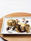 Coconut and vanilla wraps with chocolate, bananas and nuts