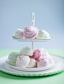 Pastel coloured meringues