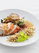 Roast chicken breast with wheat barley and a lemon medley