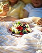 Obstsalat zum Frühstück im Bett auf der Wiese