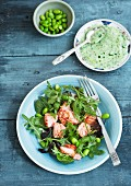 Mixed leaf salad with hot smoked salmon, broad beans, soya beans, chives and a herb dressing