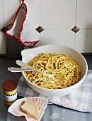 A bowl of spaghetti carbonara