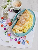 Pancakes filled with apricot compote