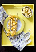 Grilled pineapple and polenta skewers