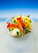 Prawn salad with pineapple and cress