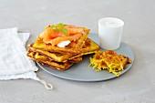 Potato waffles with smoked salmon