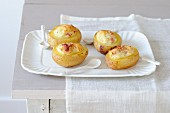 Stuffed potatoes with goat's cheese and bacon