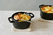Potato gratin with smoked salmon