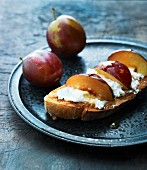 French toast with plums, cream cheese and honey