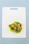 Ingredients for a spring roll with salmon and vegetables
