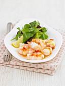 Lemon and chilli prawns with salad