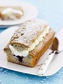 Blueberry cake with cream