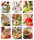 Oktopusragout mit Gemüse zubereiten