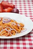 Spaghetti all Amatriciana (Nudeln mit Pancetta, Tomaten und Chilisauce)