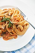 Spaghetti with king trumpet mushrooms and tomato sauce