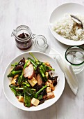 Roasted vegetables with tofu and char siu