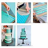 A striped, three tier wedding cake being made