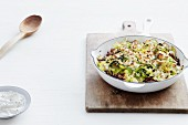 Savoy cabbage bake with minced meat and feta cheese