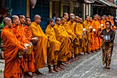 Buddhist monks waiting to receive alms, Battambang, Cambodia